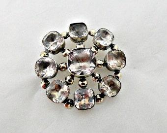 Antique Diamond Paste Brooch Pin - Georgian Paste Gold Brooch, Antique Paste Jewelry, rolled gold