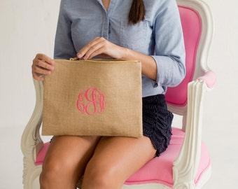 Monogram burlap zipper pouch/ bridesmaid burlap gift/ burlap bag/ wedding Burlap tote