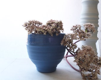 Sample Sale, Planter #24, Electric Blue, Handmade, Porcelain, Wheel Thrown