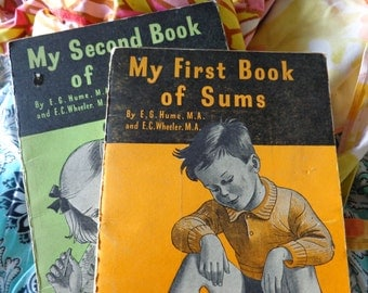 My First Book of Sums/My Second Book of Sums Vintage Maths Books