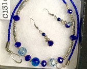 Purple Crystal and Blue Crackle Crystal Choker Necklace...Extra Length 18 Inches, Matching Earrings by LaurieL  #C131c