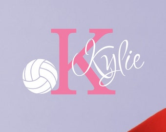 girls volleyball wall decal personalized name sports theme room decor monogrammed vinyl lettering - Volleyball Bedroom Decor