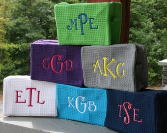 Girls Monogrammed Cosmetic Bags Waffle Weave 10 Colors Personalized Makeup Bags