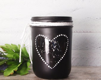 Valentines Hand Painted Mason Jar Cut Out Heart-Candle Holder-Candy Jar-Country Decor- Mason Jar Vase- Country Weddings- Valentines Gift-