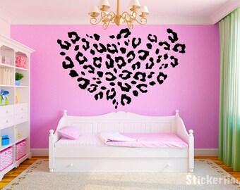 """Leopard Print Girls Teen Room Vinyl Wall Decal Graphics 50""""x50"""" Bedroom Decor"""