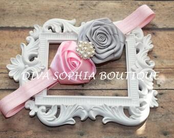 Pink and Gray Satin flowers Headband