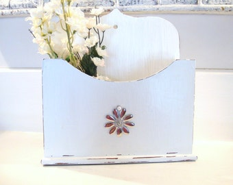 Desk organizer, letter holder, napkin holder, shabby chic decor, office organizer, utensil holder, upcycled decor