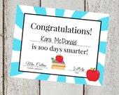 INSTANT Download BLUE 100th Day of School yellow Congrats Certificate  PRINTABLE Download - Fun diy