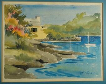 Vintage Watercolor Ocean Seascape Painting Impressionist Art Bermuda Blue Original Island Decor Sea Maritime Boat Framed Signed JOAN FORBES