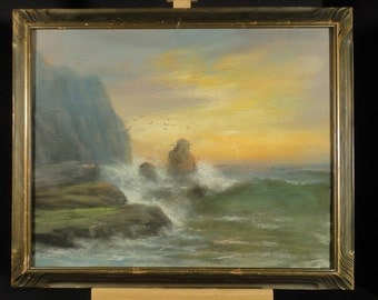 19th CENTURY SEASCAPE PAINTING Pastel Art Original Landscape Antique Decor Ocean Wave Coastal Signed Listed Artist William Henry Chandler