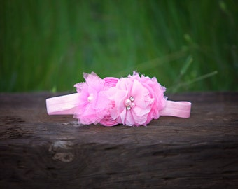 Bubble Pink Baby Headband,  Pink Chiffon Flower Headband for Baby Toddlers Girls,Pink Shades Easter Headband for girls