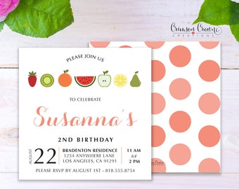 Fruit Stand Child's Birthday Invitation - Baby, Toddler, Kid's Fruits Birthday Party Invite - Watermelon Party - Digital File