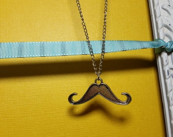 Antique Silver Mustache Necklace