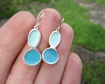 Pebble Earrings in Shades of Turquoise  - Sterling and Vitreous Enamel Blue Dangle Earrings