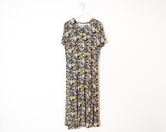 on sale - 80s navy & yellow floral button-up dress / short sleeve crepe maxi dress / size L