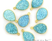 Natural Light Blue Druzy, Bezel Pears Shape Connector, 12x16mm Pears 24K Gold Plated, Single Bail 1pc (LZ-11086)