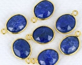 Memorial Day 30% OFF Natural Sapphire, Bezel Oval Shape Connector, 10x12mm Oval 24k Gold  Plated, SIngle Bail 1pc. (SH-10080)