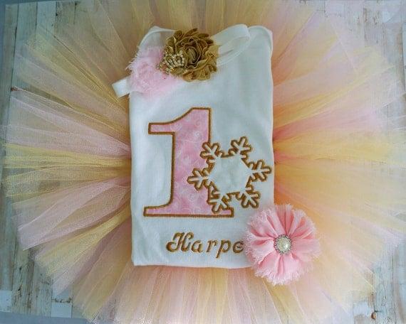 First Birthday winter wonderland bodysuit, Winter onderland birthday outfit, Frozen, pink and gold,  smash cake outfit, photo prop