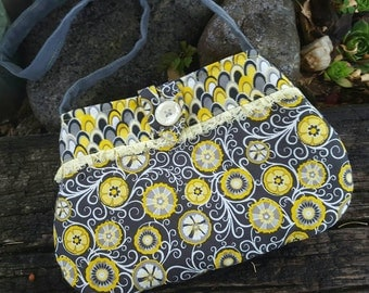 Toddler Purse, Yellow & Grey Little Girl's Purse