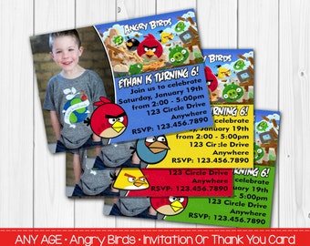 Angry Birds Invitation  Or Thank You Card, NinjI & No Pic Option Digital File