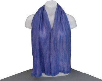 Nuno felted gift boxed scarf in blue and lilac merino wool on silk