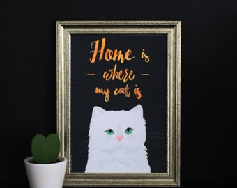 Print 'Home is where my cat is'