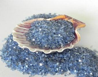 Glass Chips Blue Small - Terrarium - Beach Scene - Fairy Garden - river brook stream - 8 ounces - beach fairy garden decorative stone supply