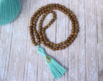 Mala Bead, Tassel Necklace, Bohemian Necklace, Wood Bead Tassel Necklace, Mala Necklace, 108 Mala Bead, Wood Bead Necklace, Yoga, Meditation