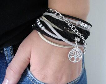 Bohemian Black Wrap Bracelet, Black Leather Bracelet, Womens Bracelet, Black Silver Bracelet, Suede Bracelet, Boho Bracelet,Handmade Jewelry