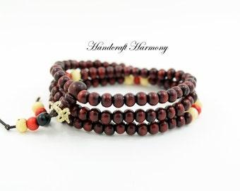 Mala Beads, Mala Bracelet, Wood Mala Bracelet, Buddhist Bracelet, 108 Mala Beads, Red Mala, Mala For Men, Wood Bracelet, Prayer Beads