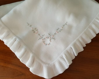 Jersey Knitted Blanket with Gathered Ruffle and Hand Embroidery