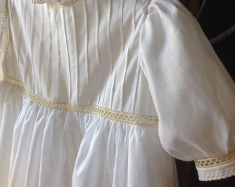Christening Gown with Swiss Embroideries and Pressed Tucks