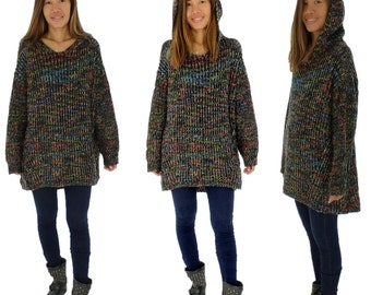 HQ500MF1 pullover hooded sweater chunky knit Gr. 38-50 multicolor