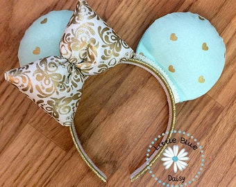 Custom Mouse Ears - Mint Hearts