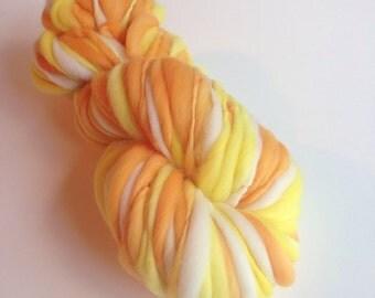Handspun Thick and Thin Merino Wool Yarn - 50 yards - Candy Corn