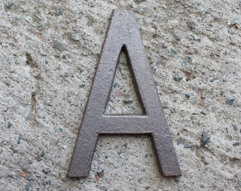 A - 5 Inch Cast Iron Metal Letter A, NO DRILL HOLES