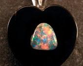 Sterling Silver Australian Opal Triangle & Onyx Heart Pendant, #101-00229