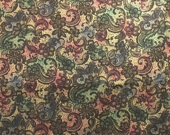 Sale Brown Paisley On Multicolored Cotton Home Dec Fabric One Yard 44 Inch Wide Home Decor Fabric