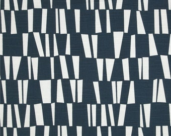 Sticks Slub Navy Premier Print Fabric - One Yard - White and Navy Blue Home Decor Fabric