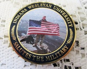 Vintage 1980's Indiana Wesleyan University Military Challenge Coin -Honoring  Army, Navy, SIr Force, Marines and Coast Guard - Estate find!