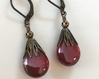 Ruby Red Glass Earrings  Bohemian Earrings  Glass Teardrops  Boho Earrings  Leverback Earrings  Gypsy Dangles