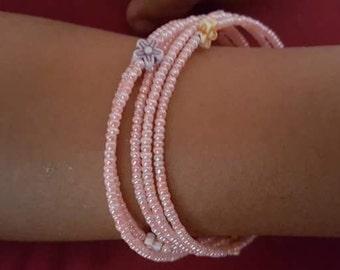 Pretty pink wrap bracelet