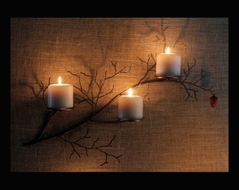 Metal  tree branch sculpture wall sconce with hand turned acorn for votive and pillar candles