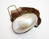 "Mother Of Pearl Purse 1880s Original, Mullosc Shell Rosary Box 2"", Victorian USA."