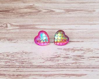 Ruby Mermaid Scale Haart Earrings