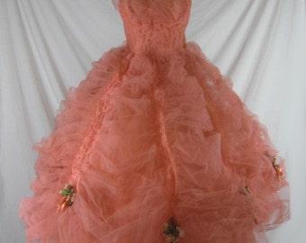 Vtg 50s 60s Coral Tulle HUGE Full Skirt Strapless Party Wedding Dress Set W24