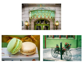 Green Paris Print Set - set of 3 green prints 8x10 laduree bicycle mint green macarons whimsical paris photography 11x14 paris wall art 5x7