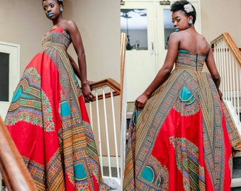 NEW Dashiki Dress || African Print Strapless Maxi-Dress || Ankara Maxi Dress || African Prom Dress || African Styles || African Fashion