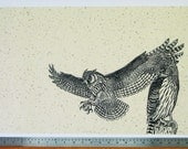 Owls (I Will Protect You) woodcut print