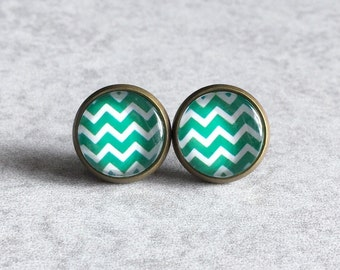 Chevron Stripes Stud Earrings - Mint Green and White Striped, Nautical, Sailor, Antique Bronze or Silver Bezel Studs, 12mm Glass Cabochons